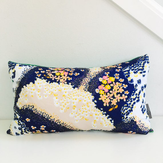 "SALE Navy Blue Floral Pillow Cover 14""x24"" Lumbar Cushion Vintage Abstract Pink Yellow Cream Flower Motif Textured Grass Green"