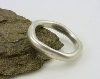 Silver Stacking Ring, Organic Silver Ring, Stacking Ring