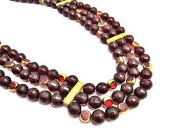 Vintage Garnet Red Multi Strand Beaded Statment Necklace, Red Glass, Red Beads, Garnet Beads, Beaded Bib Necklace, Gold Party Jewelry