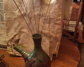 Copper enameled flowers in pottery wine Decatur