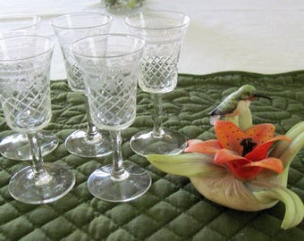 5 Antique Vintage Cordial Glasses Criss Cross Cut & Needle Etch Band Circa 1920's