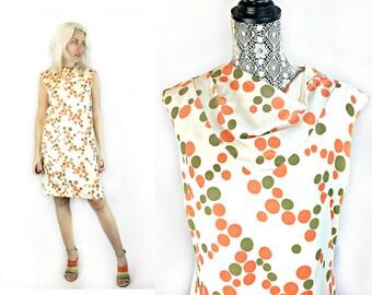 Vintage 1960s Polka Dot Mod Shift Dress with Cowl Neck size Medium