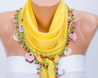 Turkish oya scarf ,yellow turkishsummer scarf with hand crocheted lace border