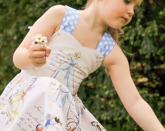 Cinderella, Snow White, Belle  Peekaboo Tie Back  Dress (12-18 months, 2T, 3T, 4T, 5, 6,7, 8)