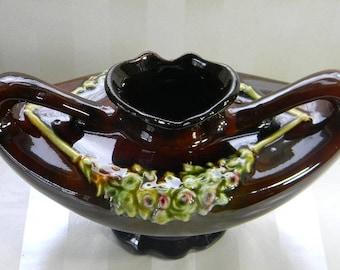Vintage Brown Glazed Pottery Vase, Weller, Louwelsa