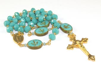 3 Decade Rosary, Miraculous Medal of Our Lady Center, Turquoise Blue & Gold