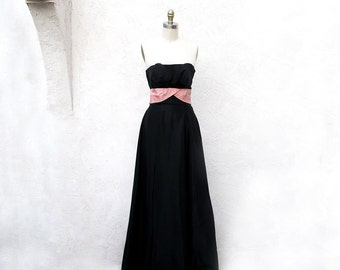 Vintage Black Strapless Gown, 50s Long Prom Dress, 1950 Pink and Black, Bias Cut