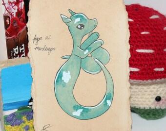Original Watercolour - Merdragon - Turquoise Koi