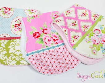 Baby Girl Vintage Style Burp Cloths, Baby Girl Gift Set, Baby Girl Floral Shower Gift, ships within a week