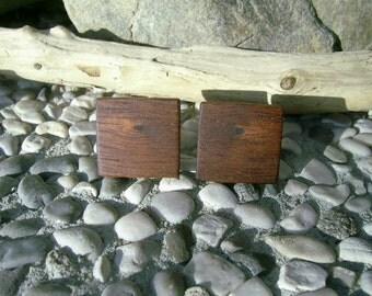 WOODEN CUFFLINKS - Exotic MAHOGANY Handmade Square Wooden Cufflinks