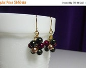 25% OFF SALE thru Mon. Red Green Gold Pearl Small Cluster Earrings, Mom Sister Bridesmaid Gift Birthday Gift Wife Girlfriend Christmas Gift