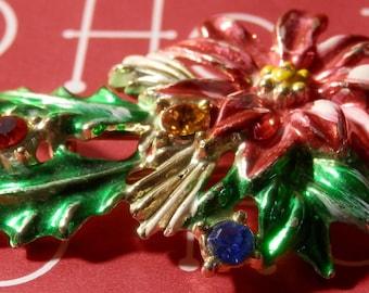 SIGNED BJ's 70's-80's gold Tone rhinestone Ponsietta brooch