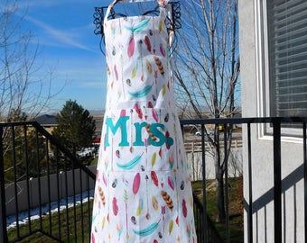 Apron for the bride - personalized MRS turquoise feathers arrows apron- classy original wedding, bridal shower, bachelorette gift