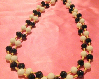 Vintage Black White and Gold Multi Strand Long Beaded Necklace