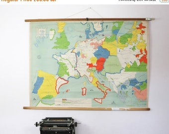 SALE Vintage Map Chart,  Dutch map of Europe Middle Ages