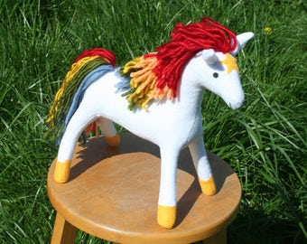 Starlite Rainbow Brite's Horse Plushie ~ Retro Style, Stuffed Animal, Lisa Frank, Rainbow Toy, Original Style Starlite Pony Plushy