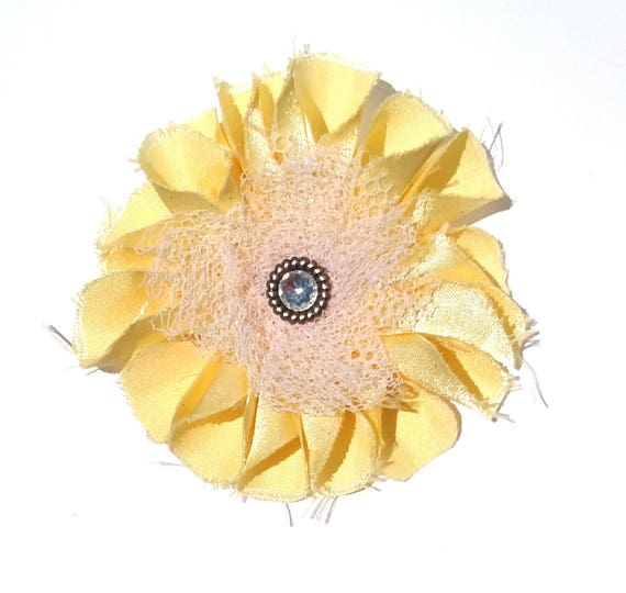 Recycled Vintage Fabric Flower Clip - Yellow