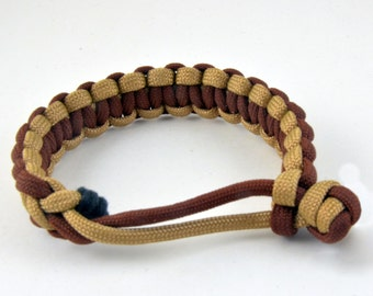 Paracord 2-tone bracelet - Mad Max style (Brown & Gold)