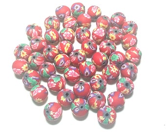 20 Fimo Polymer Clay Round Beads red yellow flowers beads 12mm