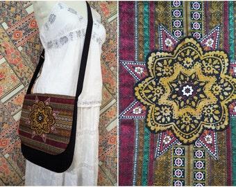 Bohemian Bag by Boho Rain/ black and gold batik mandala messenger bag/ unique handmade boho bag/ burgundy black gold green crossbody bag
