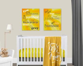 You Are My Sunshine Sun Canvas Prints Set