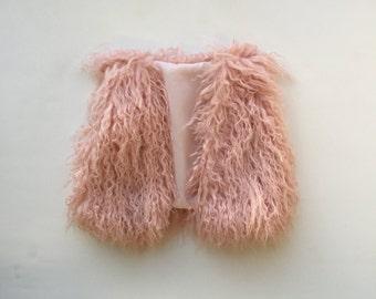 Faux Fur Baby Vest Blush Pink Shaggy Boho Vest