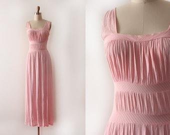 vintage 1940s slip // 40s pink slinky slip dress lingerie