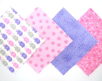 """48 Piece Flannel Rag Quilt Kit 6""""x6"""" Pre Cut Quilt Squares in Pink, Lavender and White Elephants and Matching Prints"""