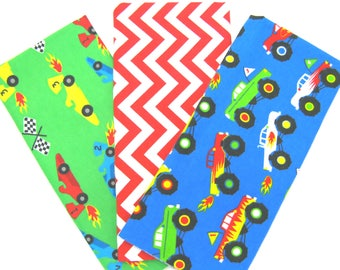 3 Pack of Cotton Flannel Fat Quarters in Monster Trucks, Chevron and Race Car Matching Prints