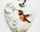 Guitar Pick Jewelry - Pick with a Bird and Song Notes