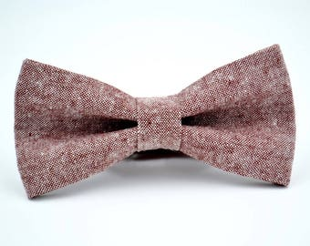 Mens Bowtie, Kaufman Linen in Rust, Red Chambray Linen Bowtie, Groomsmen Bow Tie, Groom Bow Tie, Wedding Bow Tie, Rustic Wedding, Adjustable