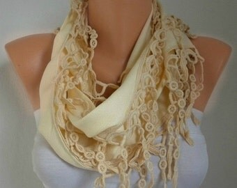 ON SALE --- Light Yellow Pashmina Scarf Spring Winter Accessories Easter Cotton Cowl Scarf Gift Ideas For Her  Women Fashion Accessories Mot
