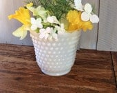 Vintage Fire King Hobnail Milk Glass Planter / White Planter / Milk  Glass Floral Container / Jacobs Ladder Planter