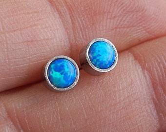 Blue Opal Earrings Opal Stud Earrings