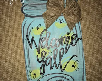 lightning bugs + mason jar // summer door hanger