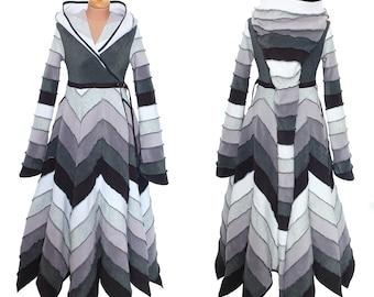 6 Tone long Fleece 'Tournedot' Jacket(length 6PH). 24 stripe ultimate pixie hood / 12 stripe sidhe sleeves. Zigzag skirt part.