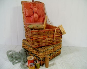 Wicker Sewing Baskets Set of 2 with Old Notions Display - Vintage Primitive Crafts Decor Collection Rustic Artisan Boxes of Supplies & Tools