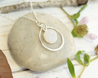 Sterling Silver Infinity Framed Rainbow Druzy Stone Necklace