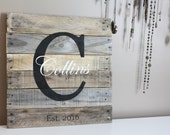 Family Name Pallet Sign. Wood Sign Wedding, Anniversary Gift. Last Name. Rustic Meets Modern. Custom Name. Gift Idea. Personalize. Surname.