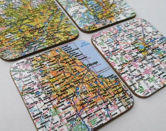 Personalized Map Coasters Wedding Map Gift Coaster Set State Map Coasters Custom Map Coasters Housewarming Gift New Home Gift First Home
