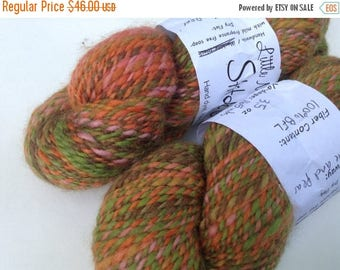 "SALE: Clearance - Handspun BFL, worsted, ""Apple and Pear"" two skeins, 7.9 oz total, 371 yds"