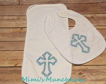 Bib & Burp Cloth Set, Embroidered Blue Cross, Baby Gift, Infant Gift, Welcome Home Baby Gift, Baby Shower Gift, Ready to Ship