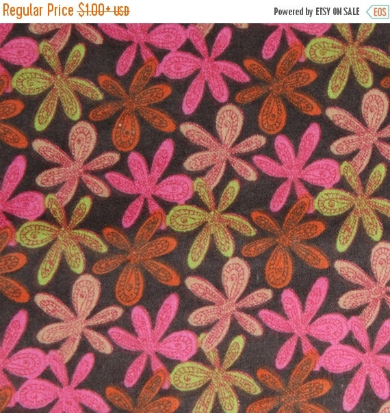 Flannel Fabric Flower Power Packed Flowers for Springs Creative 100% Cotton Quilt Apparel Sewing Craft Retro Tossed Floral on Brown