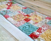 Quilted Table Runner - Patchwork Table Runner - Floral Table Runner - Chic Table Runner - Yellow and Blue Table Runner - Table Quilt