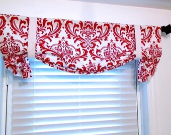 Tie-Up Lined Valance Red White Damask Custom Sizing Available!