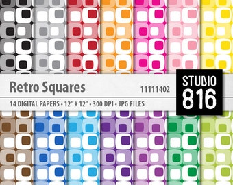 Retro Squares - Digital Paper for Scrapbooking, Cardmaking, Papercrafts #11111402