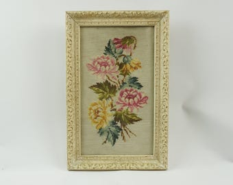 Needlepoint daisies framed picture under glass, Vintage flower needlepoint, Framed needlepoint, daisy decor, Cottage chic