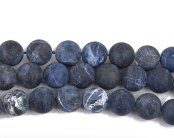 10mm SODALITE Round Gemstone Beads, FROSTED denim blue, white, grey, full strand, about 38 beads, gsd0012