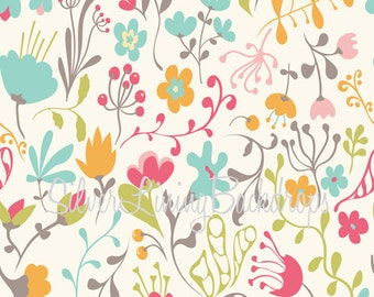 LARGE 6ft x 6ft Vinyl Photography Backdrop /  Spring Whimsical Flowers / Camille