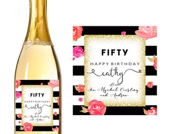 50th Birthday Wine Label - 30th 40th 50th Birthday Gift - Fifty Gift Cheeky 50th Birthday Gift- Personalized Golden 50th Birthday Party Gift